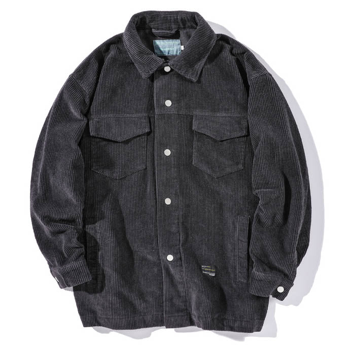 Solid Color Corduroy Warm Casual Men's Shirt