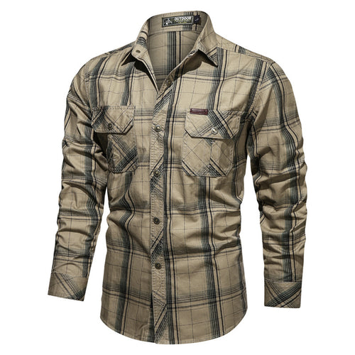 Casual Outdoor Cotton Plaid Printing Men Shirt