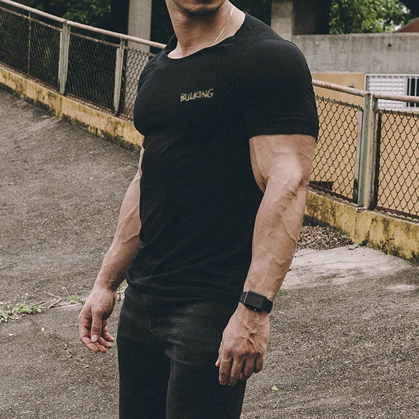 Elastic Fitness Round Neck Men's T-shirt