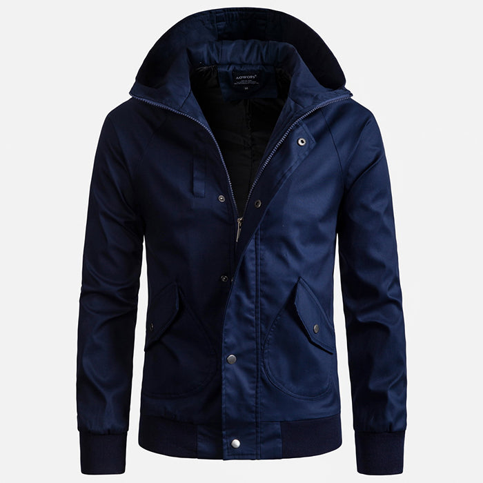 European Size High Quality Solid Color Hooded Men's Jacket