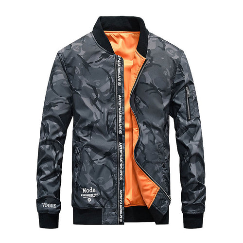 Camo Leisure Printing Stand Collar Men's Flight Jacket - KINGEOUS