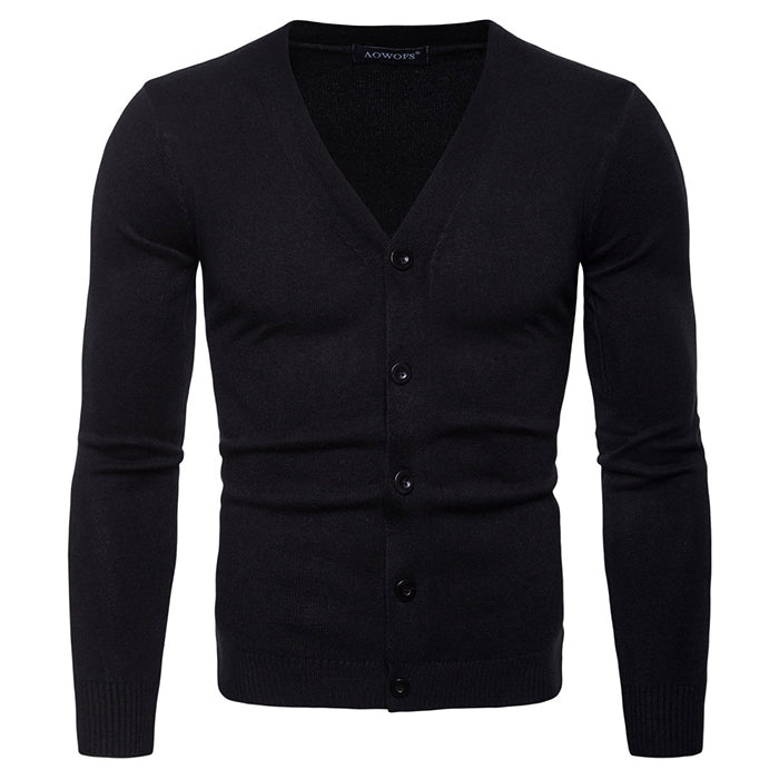 V-Neck Long Sleeve Knitting Men's Cardigan