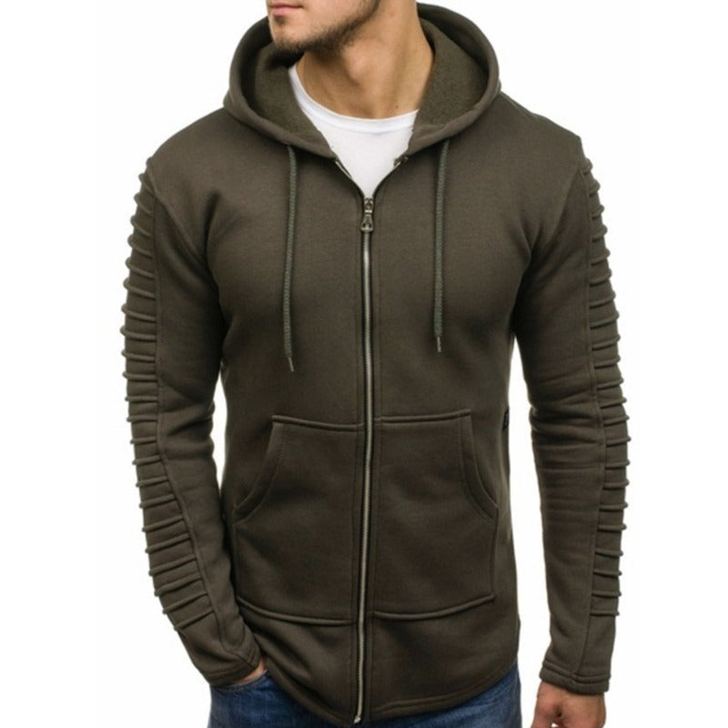 Pullover Striped Pleated Long Sleeve Men's Hoodie
