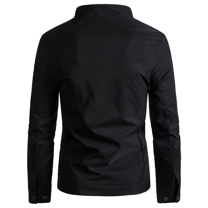 2018 New European Size Solid Color Standing Collar Men's Jacket - KINGEOUS