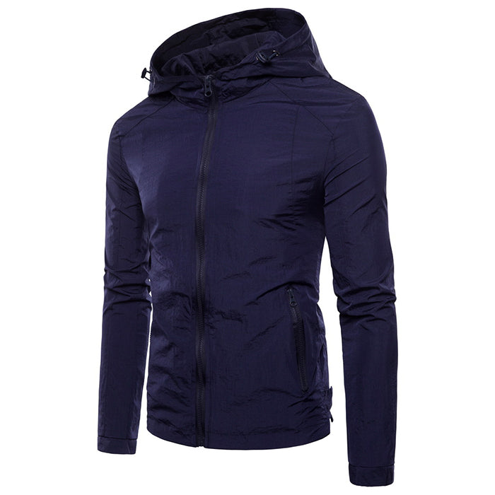 European Size Solid Color Hooded Ultra-Thin Men's Jacket - KINGEOUS