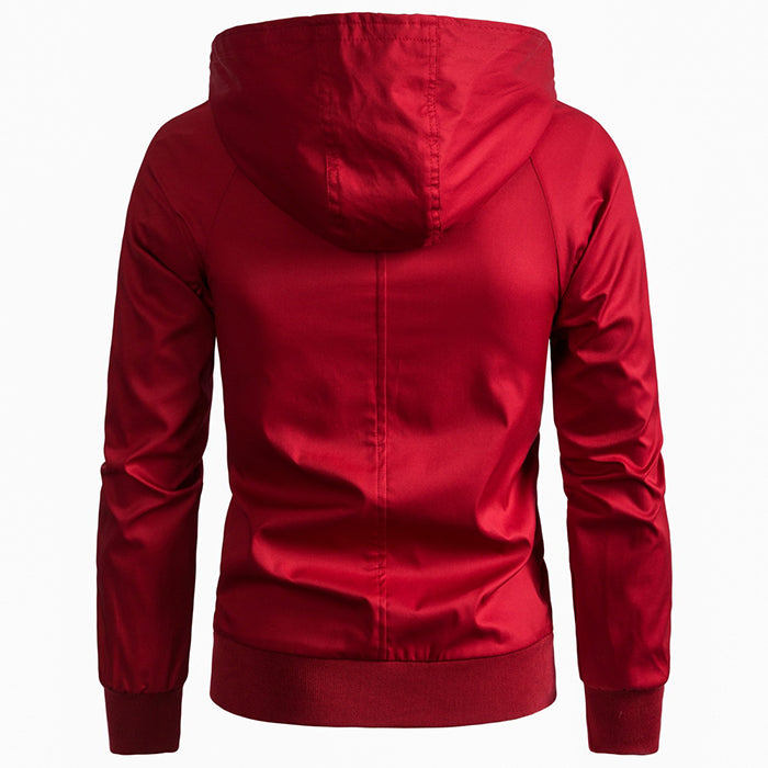 European Size High Quality Solid Color Hooded Men's Jacket - KINGEOUS