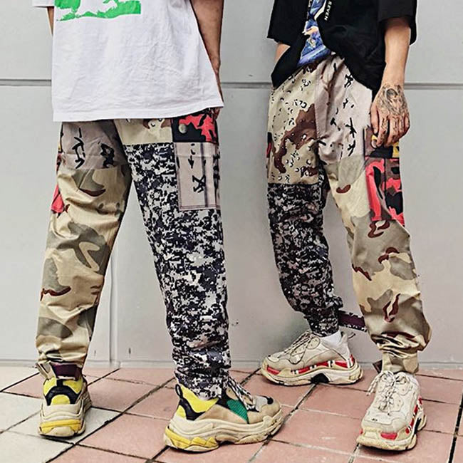 Camo Pocket Patch Stitching Women's Couple Pants - KINGEOUS