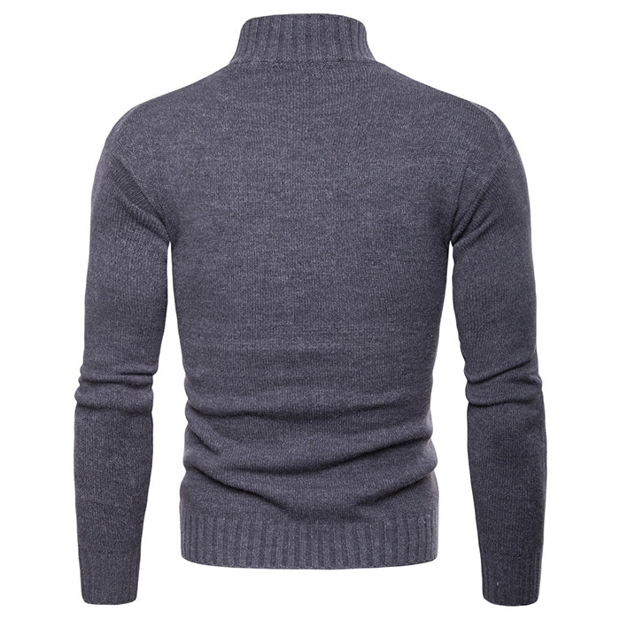 Leisure Solid Color Knitting High Lapels Men's Sweater