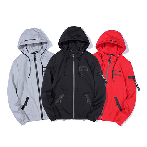 Autumn Fashion Printing Arm Zipper Hooded Men's Hoodie - KINGEOUS