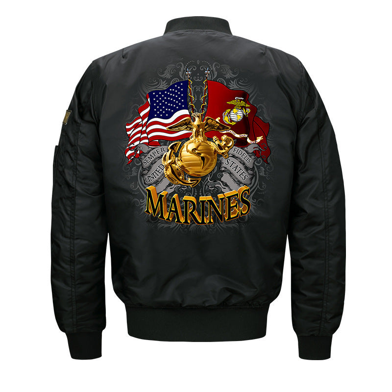 Max To 8XL Marines Embroidery Thicken Pilot Thin Jacket