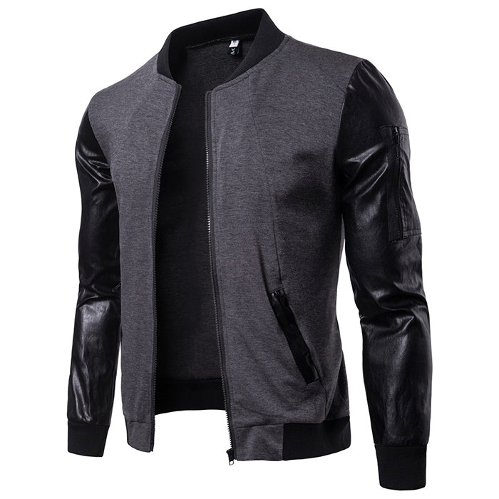 Fashion Standing Collar Split Joint Men's Leather  Coat