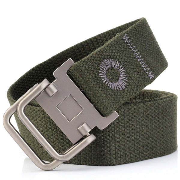 Casual Double Buckle Thicken Canvas Belt - KINGEOUS
