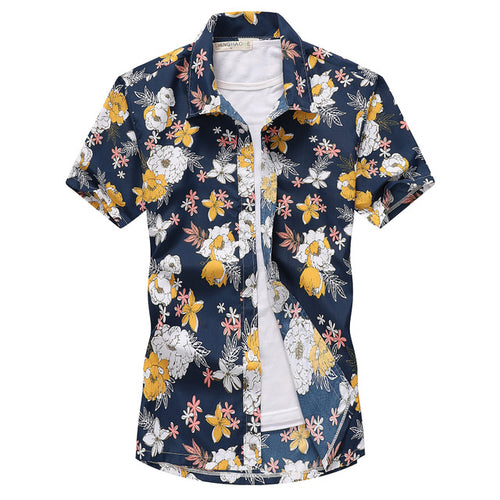 Blue Cotton Printed Holiday Men Shirt - KINGEOUS