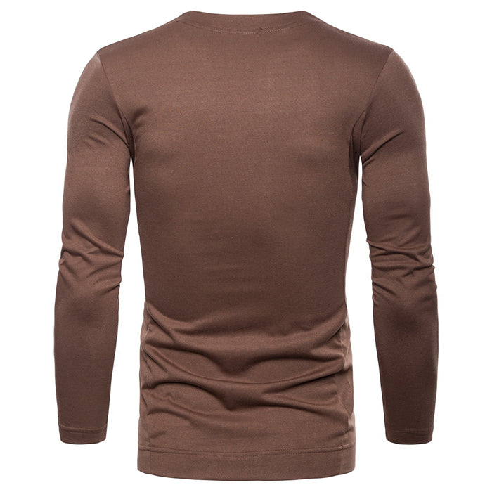 Plus Size Leisure Solid Color Long Sleeve Men's T-shirt
