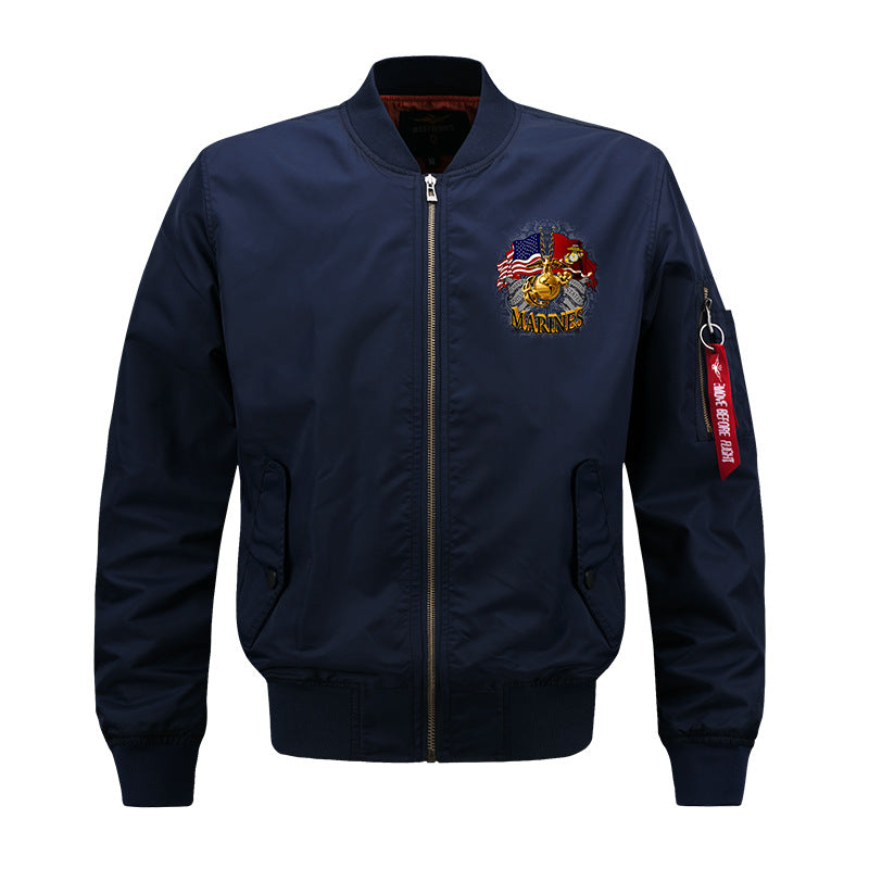 Copy of Max To 8XL Marines Embroidery Thicken Pilot Jacket - KINGEOUS