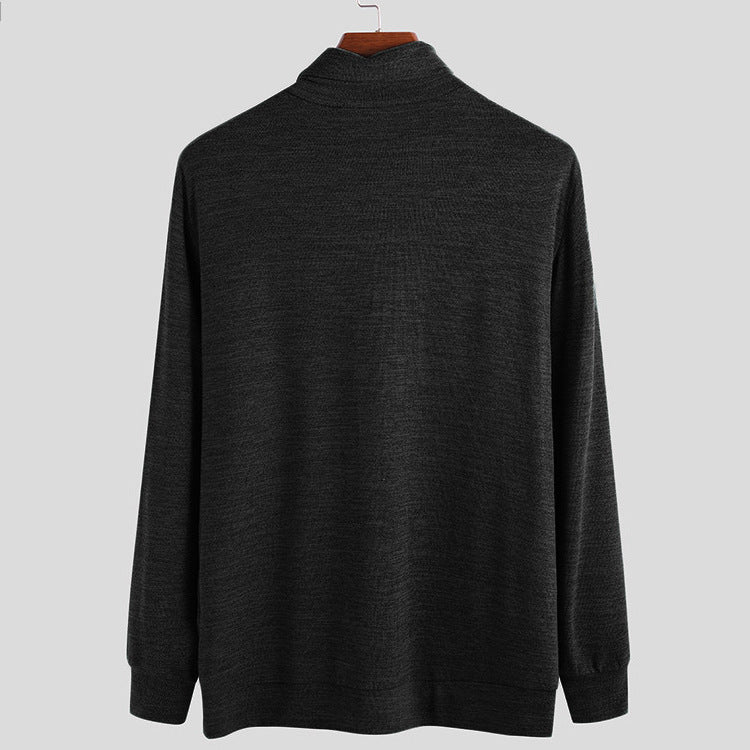 Simple Solid Color High Neck Knit Men T-Shirt