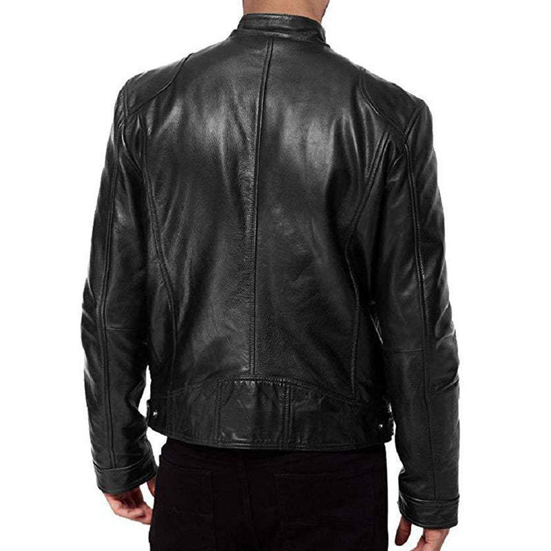 Cool Locomotive Style Zipper Men's Leather Jacket
