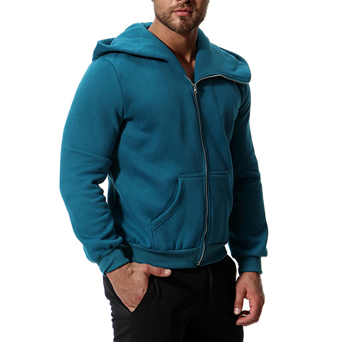 British Style Solid Color Long Sleeve Men's Hoodie