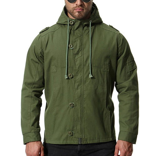 Plus Size Solid Color Hooded Men's Jacket