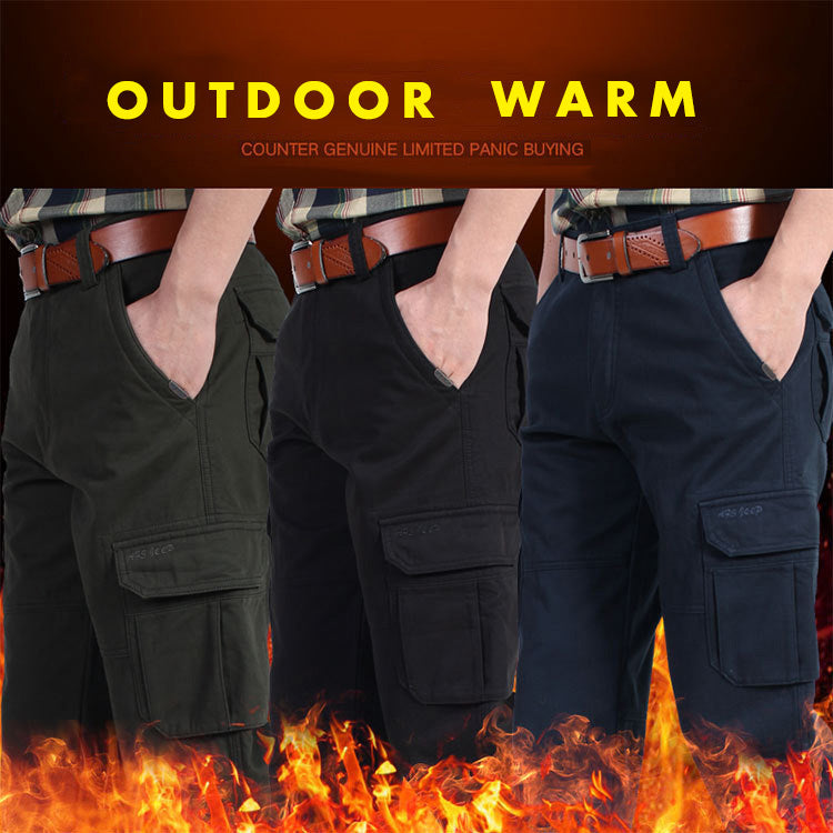 Outdoor Warm Casual Multi-pocket Thick Men's Pants