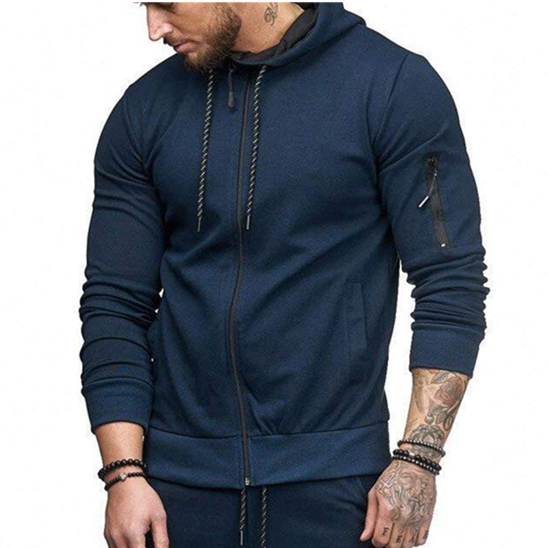 Arm Zipper Design Fashion Solid Color Men's Hoodie - KINGEOUS