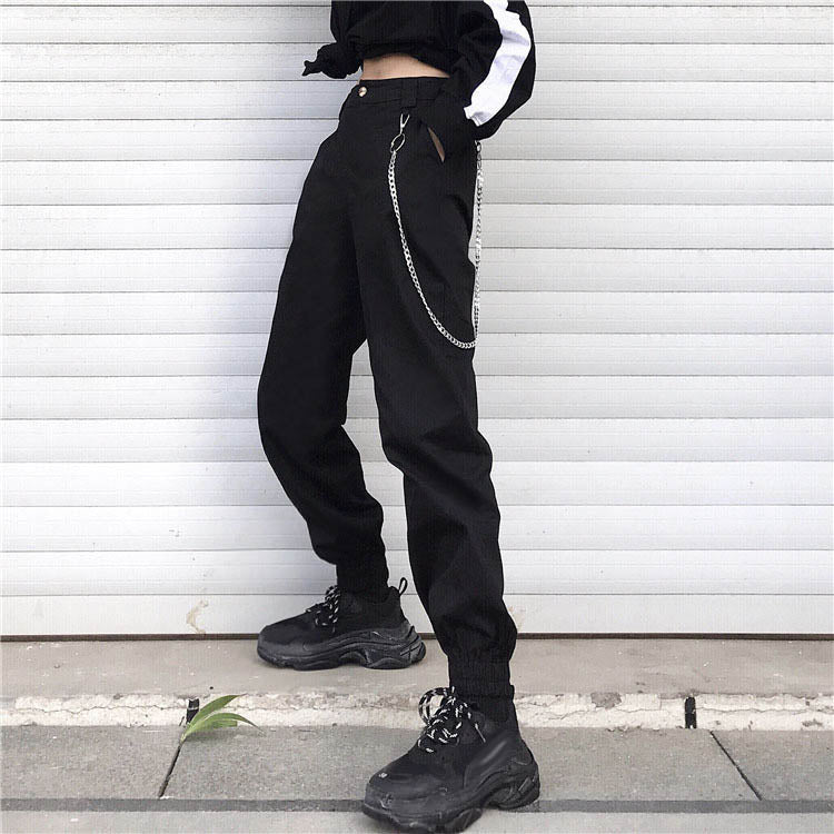 Solid Color High-waist Steel Chain Decoration Women's Cargo Pants