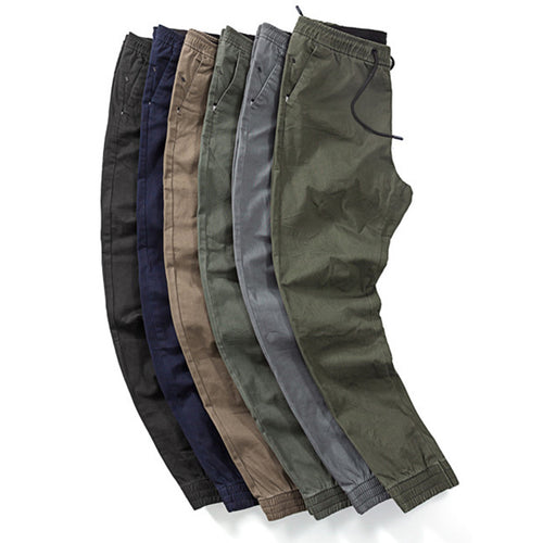 Leisure Washed Drawstring Design Elastic Men's Sport Pants