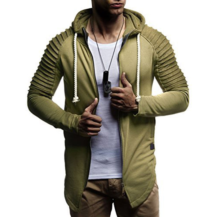 Slim Long Style Hooded Stripe Color Matching Men's Hoodie