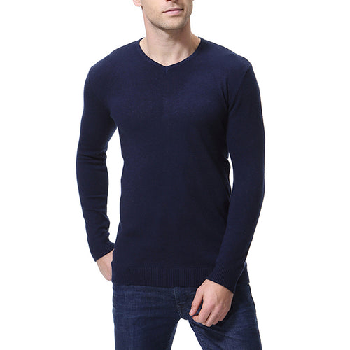 Solid Color V-Neck Long Sleeve Knitting Men's Shirt