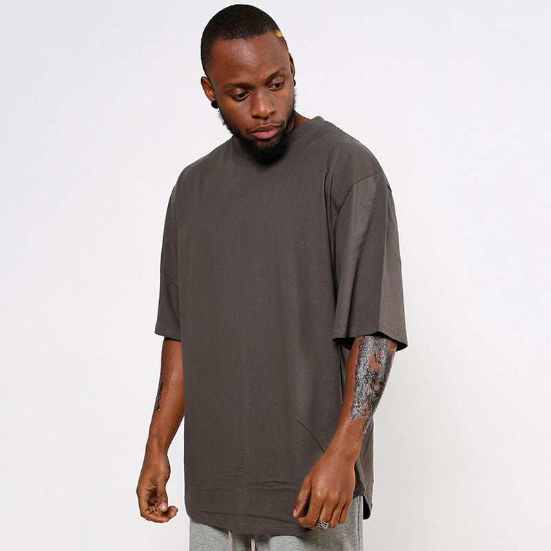 Solid Color Loose Arc Hem Half-sleeve Men's T-shirt