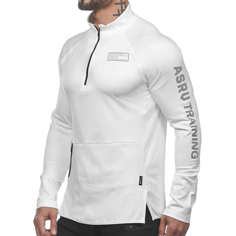 Solid Color Sports Tight Zip Collar Men's T-shirts