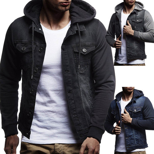 Casual Split Joint Hoodie Men's Jacket - KINGEOUS