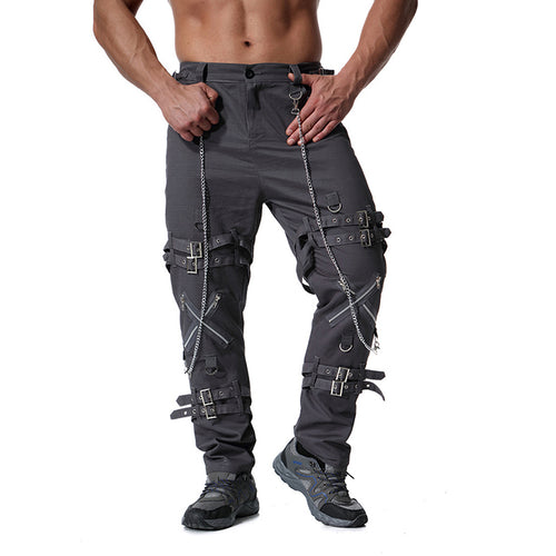 Leisure Zipper Decoration Military Style Men's Pants