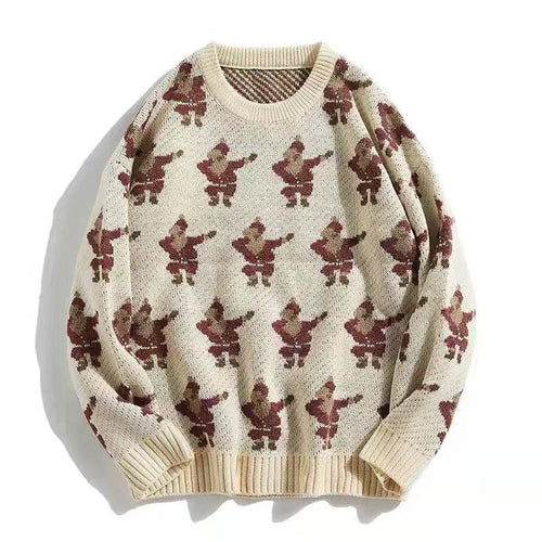 Exquisite Printed Round Neck Men Casual Sweater