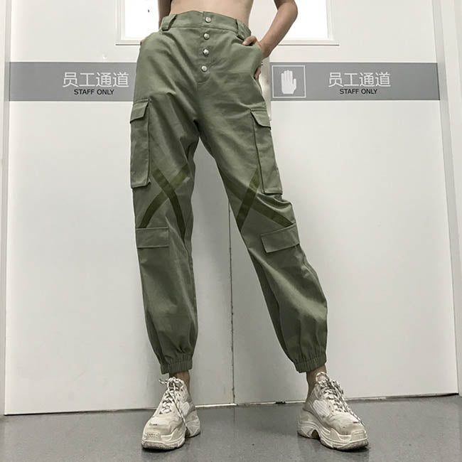 Solid Color High-waist Women's Ankle Banded Cargo Pants