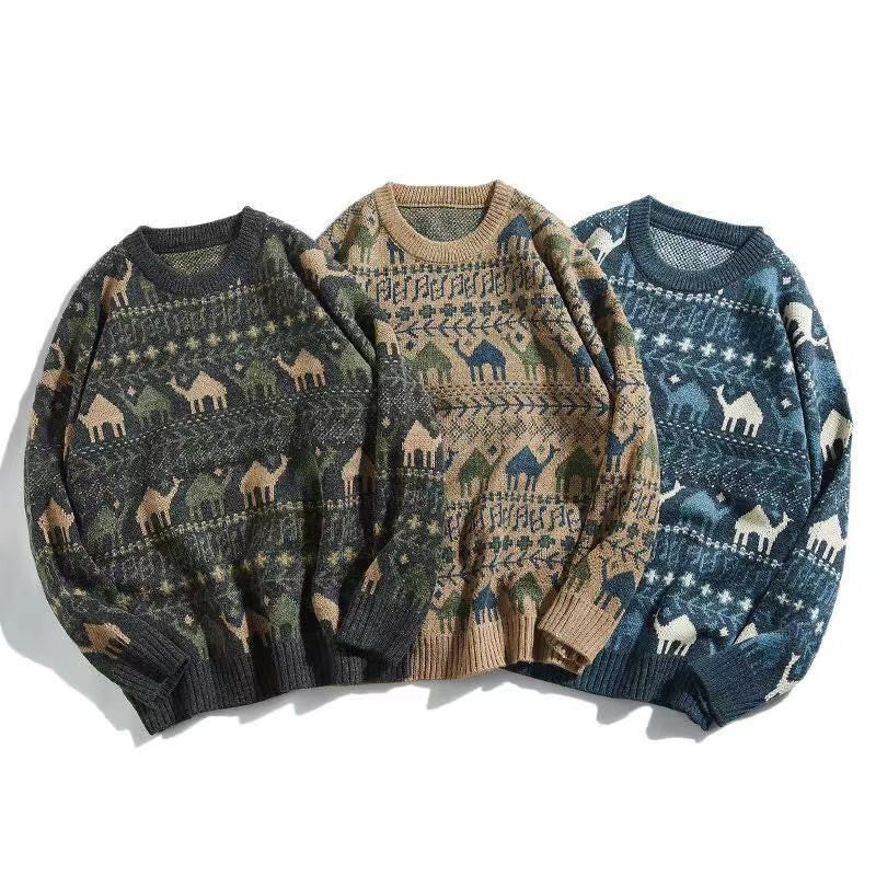 Retro Stripes Printed Round Neck Men Casual Sweater