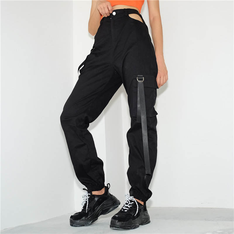 Sexy Hollow Irregular Ribbon Women's Cargo Pants