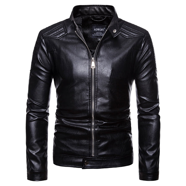 Cool Punk Slim Zipper Design Leather Jacket (European Size) - KINGEOUS