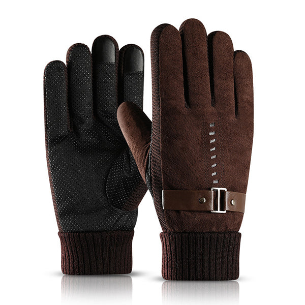 Plus Velvet Thicken Warm Leather Gloves(Touch Screen)