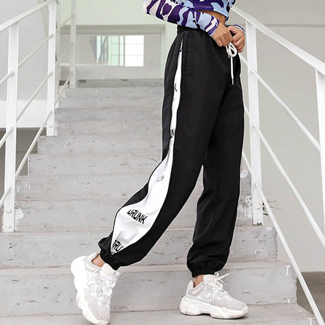 Side Printing Elastic Waist Women's Ankle Banded Cargo Pants