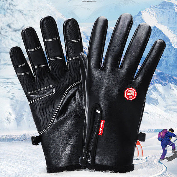 Zipper Design Warm Non-slip Thicken Gloves  (Touch Screen)