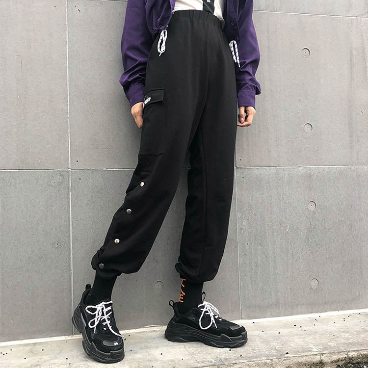 Casual Letter Embroidery Buckle Split Women's Cargo Pants - KINGEOUS