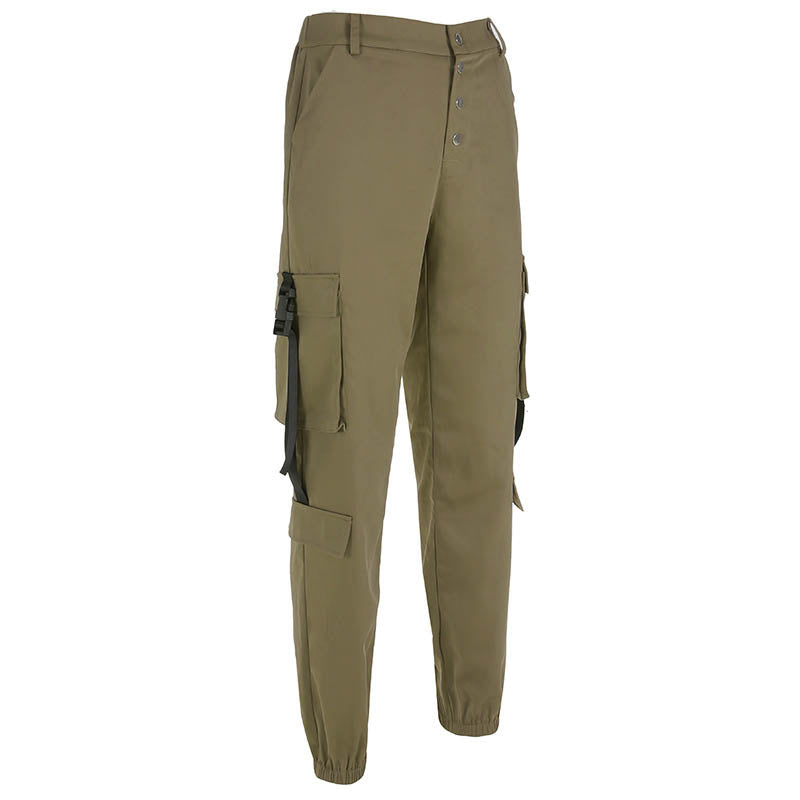 Loose Buckle Ribbon Women's Ankle Banded Cargo Pants