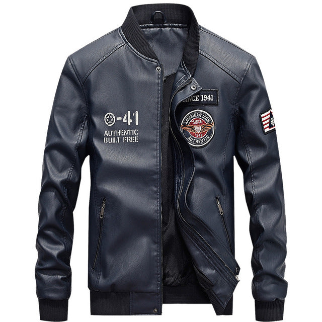 Leather Bomber Jacket Men Autumn Winter Military Jackets