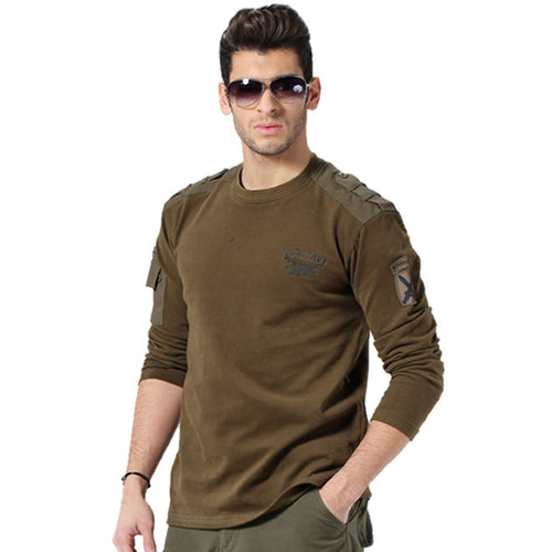 Plus Size Military Style Round Neck Long Sleeve Men's Shirt