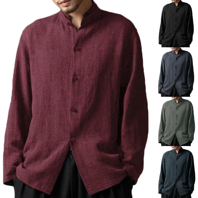 Mens Vintage Cotton Stand Collar Long Sleeve Casual Shirts