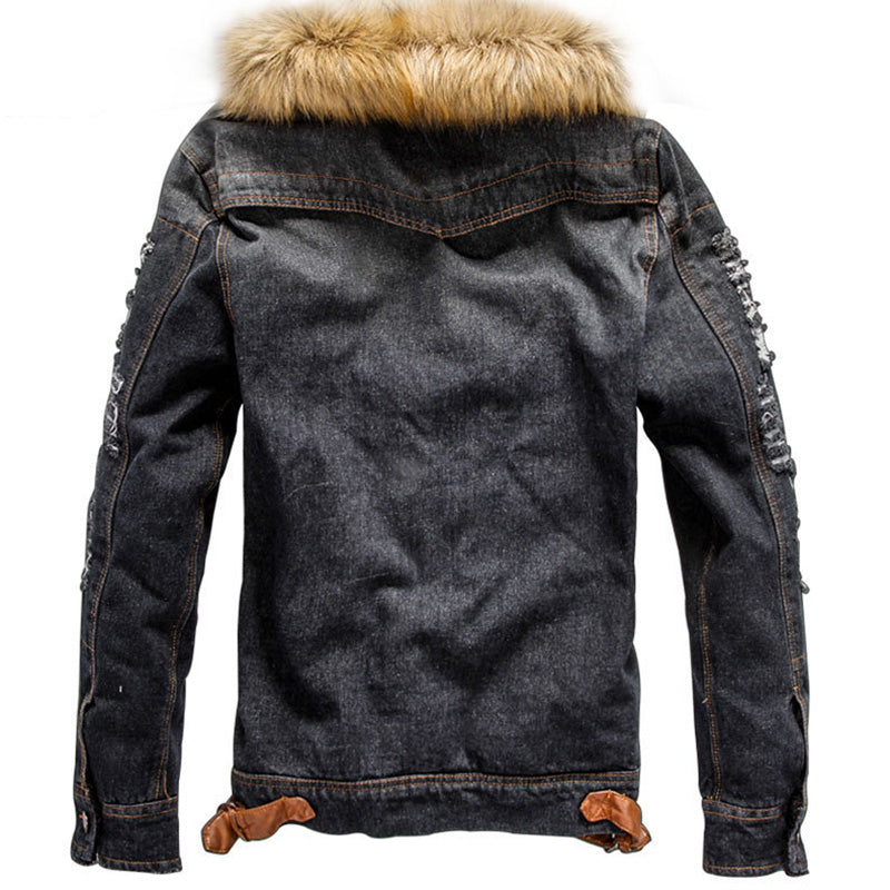 Casual Washed Denim Hoodie Thicken  Men's Jacket