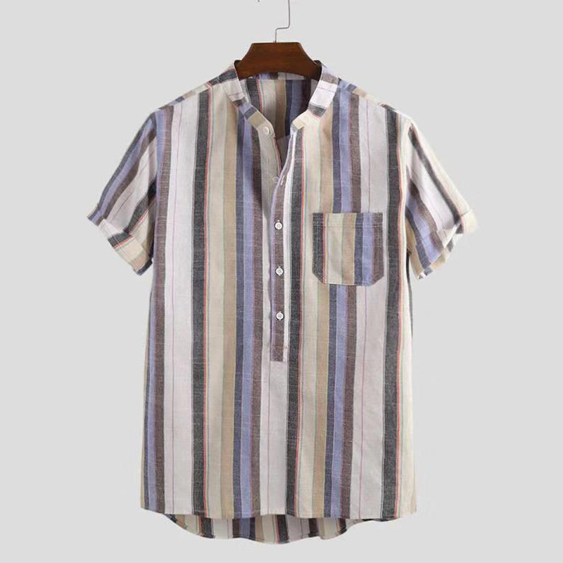 Lapel Stripes Printed Beach Loose Men Shirt