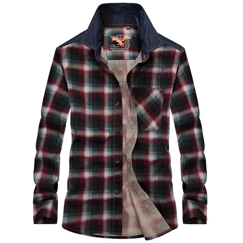 Outdoor Lapels Plaid Long Sleeve Cotton Men's Shirt