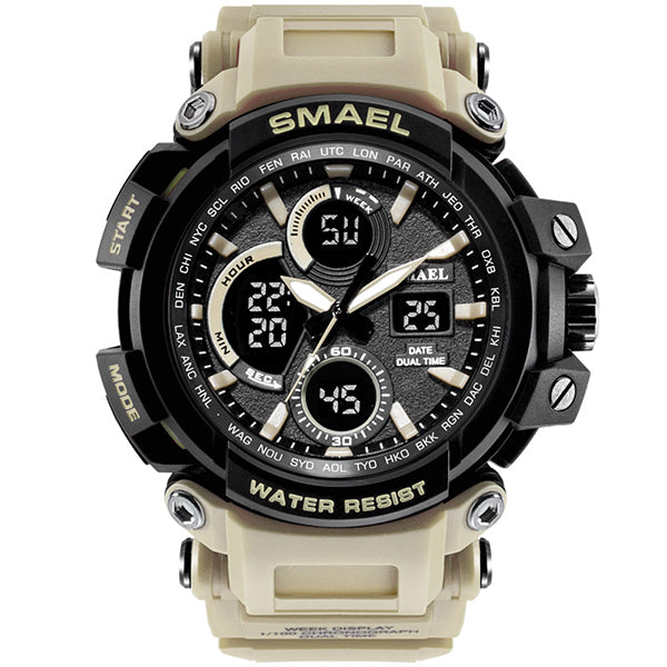 Dual Display Quartz Waterproof Multi-function Men Wristwatch - KINGEOUS